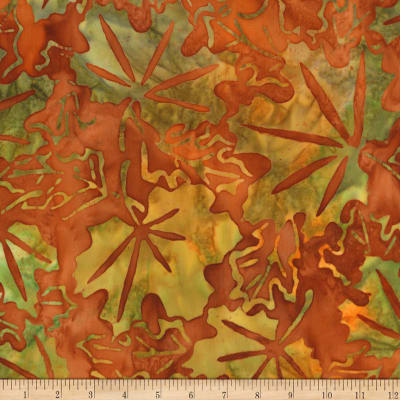 Kaufman Cornucopia Fall Leaves Batik Rust