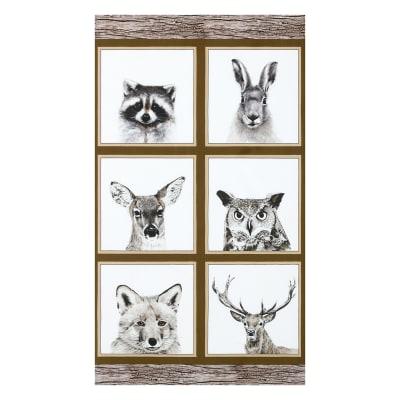 "Kaufman  Animal Kingdom 24"" Panel Animals Natural"