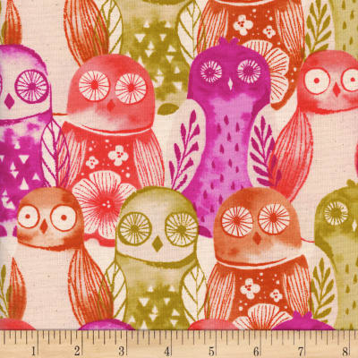 Cotton + Steel Firelight  Wise Owls  Fuchsia