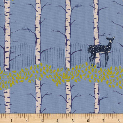 Cotton + Steel Frost Fawn Forest Unbleached Blue