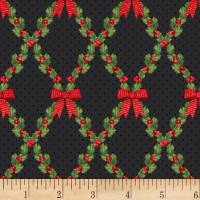 Let It Sparkle Bows And Holly Radiant Metallic Black