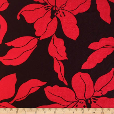 Liverpool Double Knit Mono Floral Red/Black