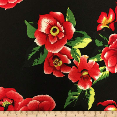 Liverpool Double Knit Winter Roses Black