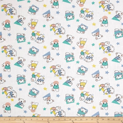 Easycare Broadcloth Koala Bear Star White