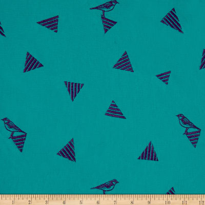 Kokka Echino Fragment Embroidery Canvas Turquoise