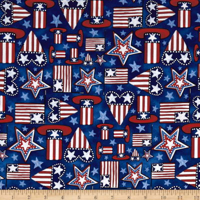 Land That I Love Flags, Hearts, Stars And Hats Navy