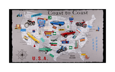 "Coast To Coast USA 24"" Panel Gray"