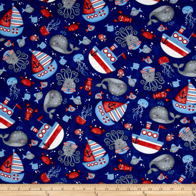 Anchor'S Away Tossed Sea Motifs Navy