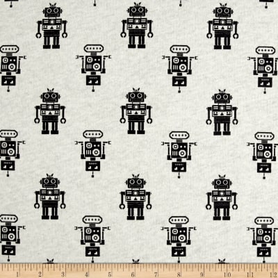 Fabric Merchants 100% Cotton Jersey Knit Robots Black/White
