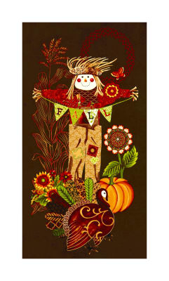 """Fall Festival Scarecrow 24"""" Panel Brown"""