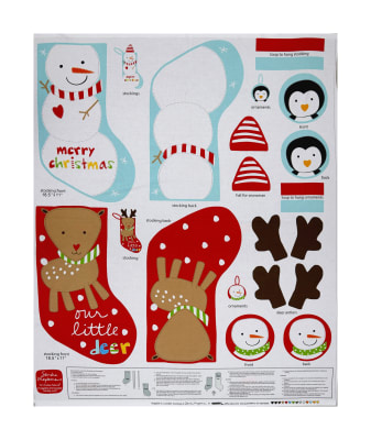 """Huggable & Loveable Holiday Books Holiday Stockings 36"""" Panel Red/Blue"""