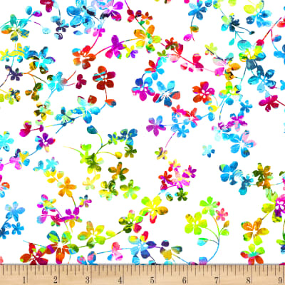 "Watercolor Meadow Digital 108"" Wide Back Floral White/Multi"