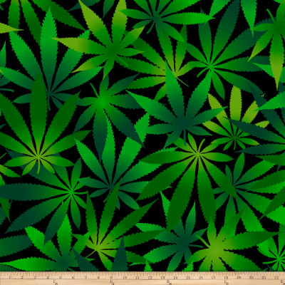 David Textiles Double Brushed Fleece Cannabis Leaves Black/Green