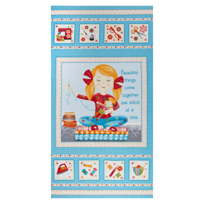 """One Stitch At A Time 24"""" Girl Sewing Panel Cyan"""