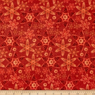 Rustic Charm Flannel Pinecone Snowflakes Red