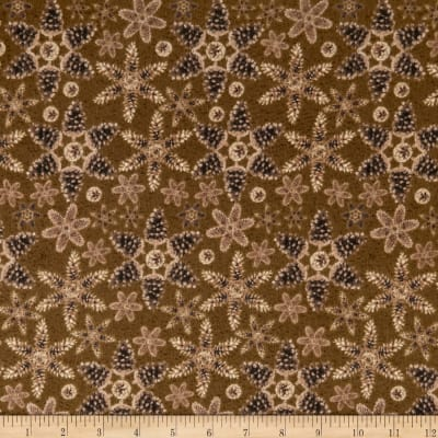 Rustic Charm Flannel Pinecone Snowflakes Brown