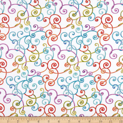 Modern Movement Whimsy Scroll Metallic White/Multi