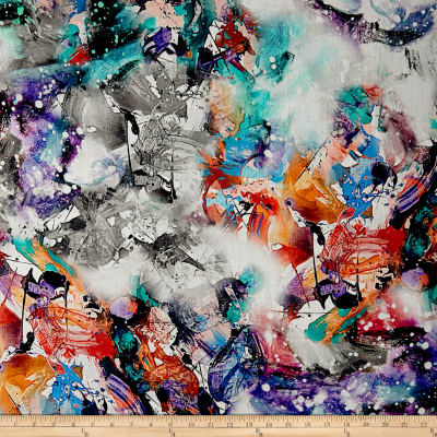 Telio Digital Linen Print Paint Splatter Multi