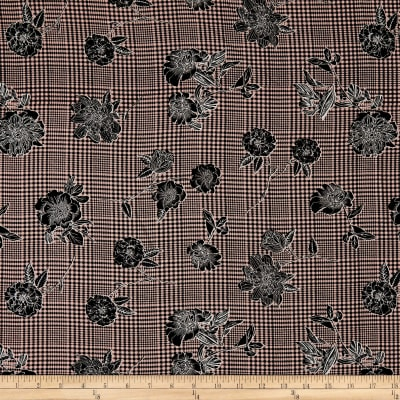 Telio Robin Poly Faille Glen Check Floral Rose/Black