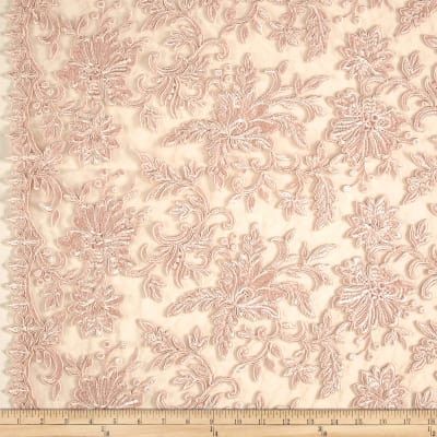 Telio Fantinet Corded Embroidery Mesh Floral Blush