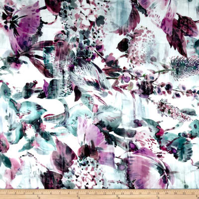 Telio Digital Linen Print Floral Purple