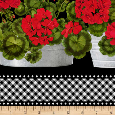 Timeless Treasures Front Porch Geranium Border Stripe Black