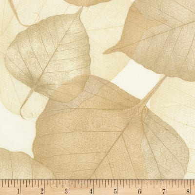 "Timeless Treasures 108"" Wide Back Leaves Cream"