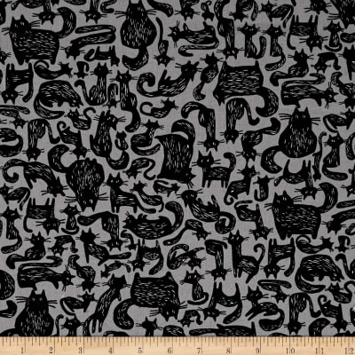 Kokka Black & White Cats Canvas Blue