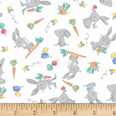 Cubby Bear Flannel Prints Bunny Hop White