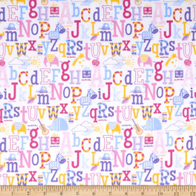Cubby Bear Flannel Prints Abc'S Pink