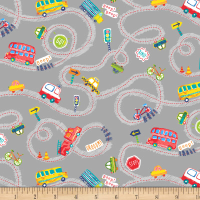 Cubby Bear Flannel Prints Road Trip Grey