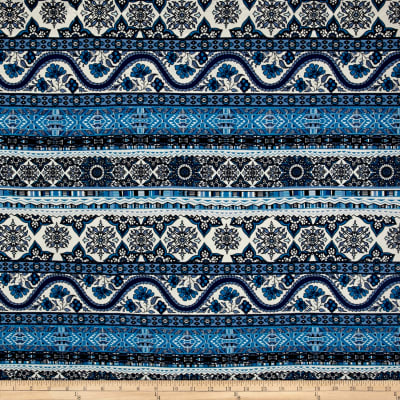 Double Brushed Jersey Knit Bohemian Blues
