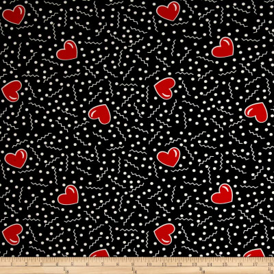 Double Brushed Jersey Knit Doodles and Hearts Black