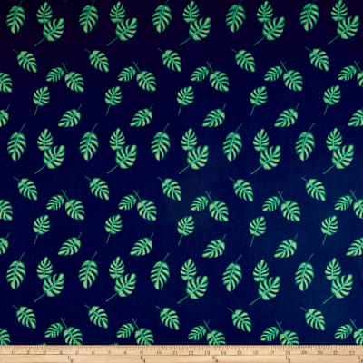 Double Brushed Jersey Knit Tropical Leaves Navy