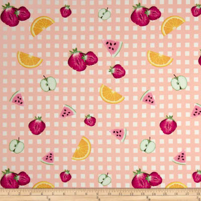 Double Brushed Jersey Knit Gingham Fruit Party Dusty Peach