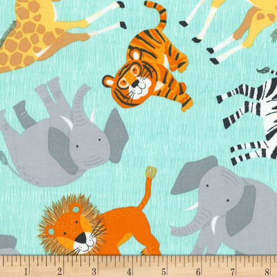 Timeless Treasures Jungle Boogie Tossed Jungle Animals Blue