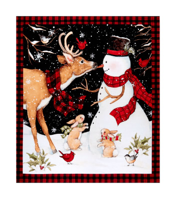 "Springs Creative Christmas Winter Snowman With Reindeer 36""Panel Multi"
