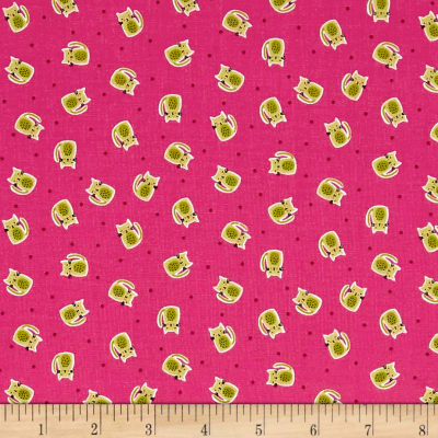 Andover/Makower Kitty Kitty Scatter Pink