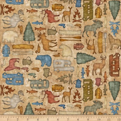 QT Fabrics Dan Morris Backcountry Small Camping Silhouettes Tan