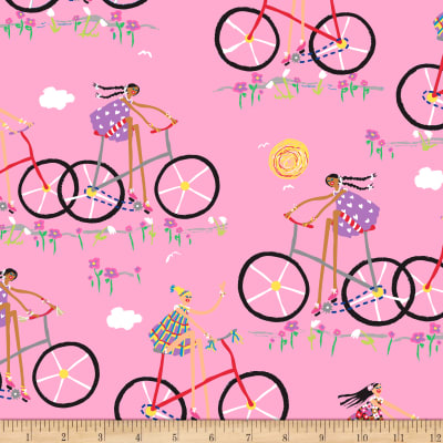 QT Fabrics City Gals Girls On Bikes Pink