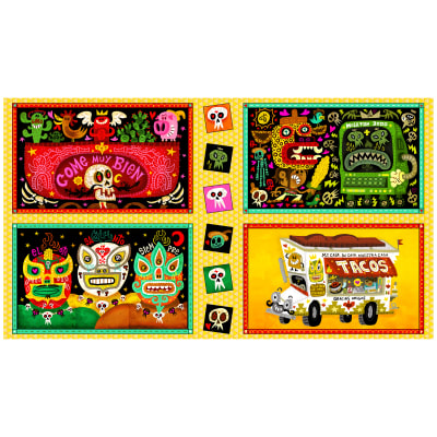 "QT Fabrics Hot Tamale Large Foodie Patches 24"" Panel Multi"