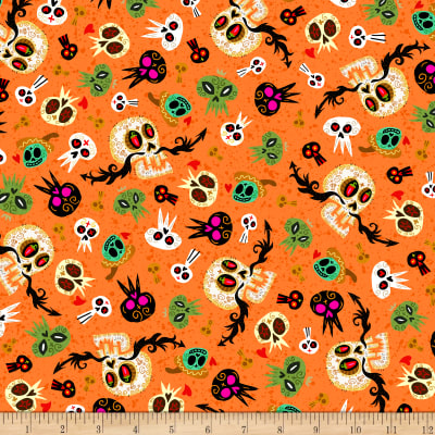 QT Fabrics Hot Tamale Skulls Orange