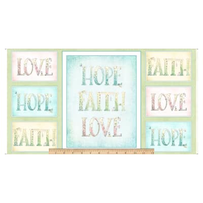 "QT Fabrics Sweet Thoughts Faith Hope Love 24"" Panel Multi"