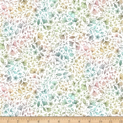 QT Fabrics Sweet Thoughts Ombre Floral White