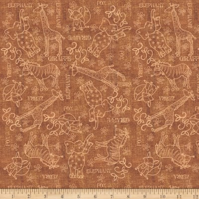 QT Fabrics Wild Things Animal Sketches Brown