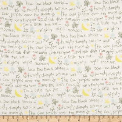 Playful Cuties Flannel 2 Rhyme Words White
