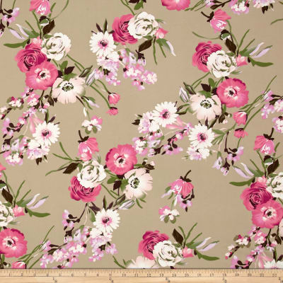 Double Brushed Poly Jersey Knit Floral Bouquet Pink on Mocha