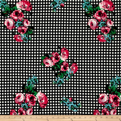 Double Brushed Poly Jersey Knit Roses on Gingham Red/Black