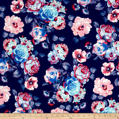 Double Brushed Poly Jersey Knit Blooming Roses Navy/Pink