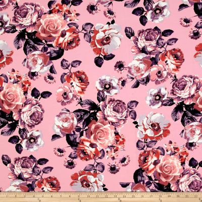 Double Brushed Jersey Knit Blooming Roses Pink/Lilac